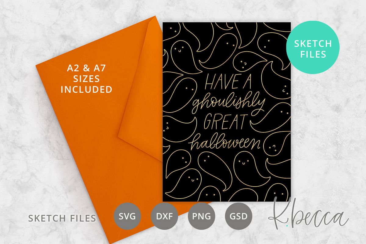 Foil Quill Sketch Halloween Card SVG - A2 & A7 Sizes example image 1