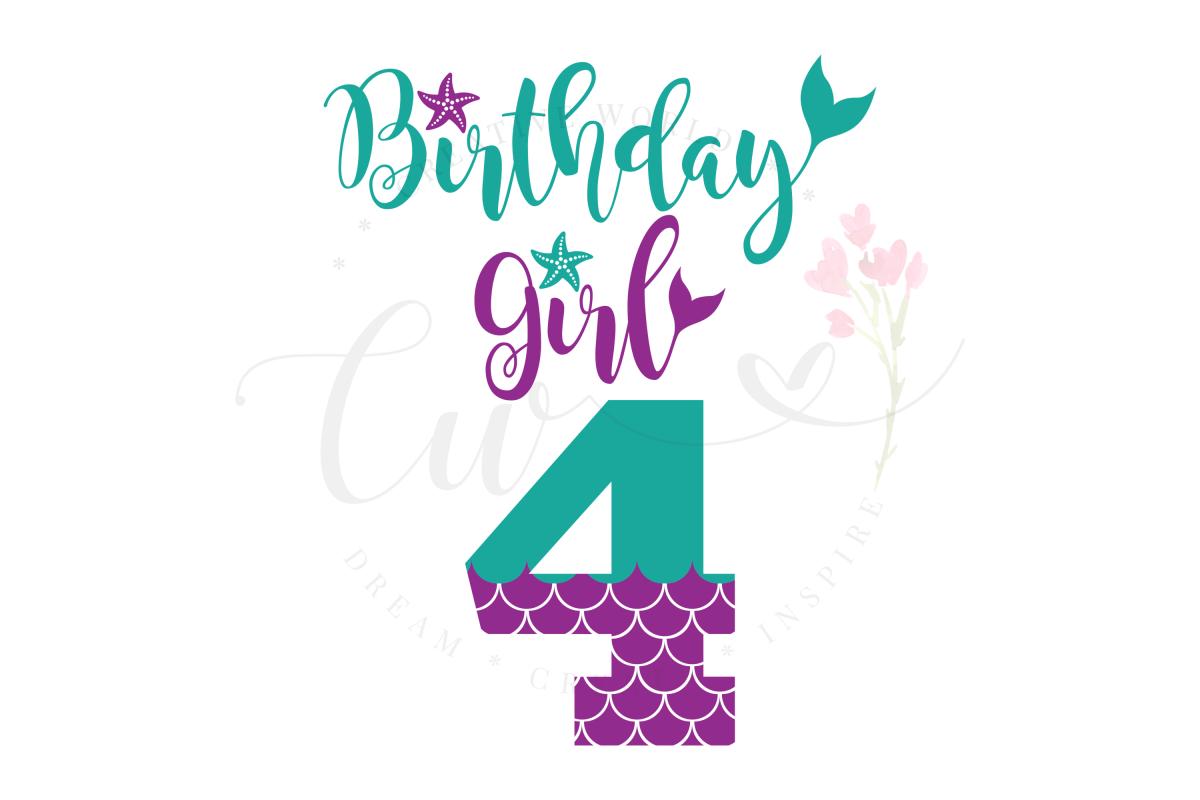 My 4th Birthday Mermaid SVG | Mermaid Birthday Girl svg example image 1