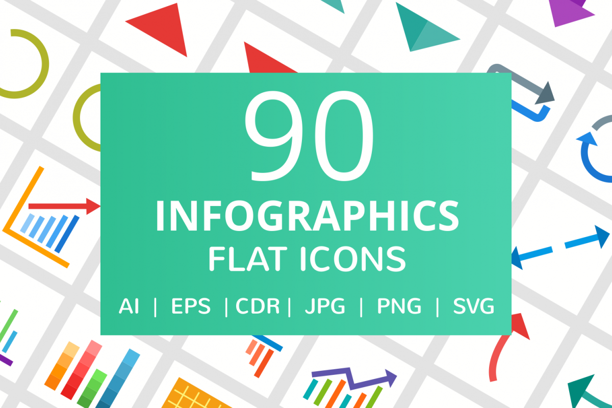 90 Infographics Flat Icons example image 1