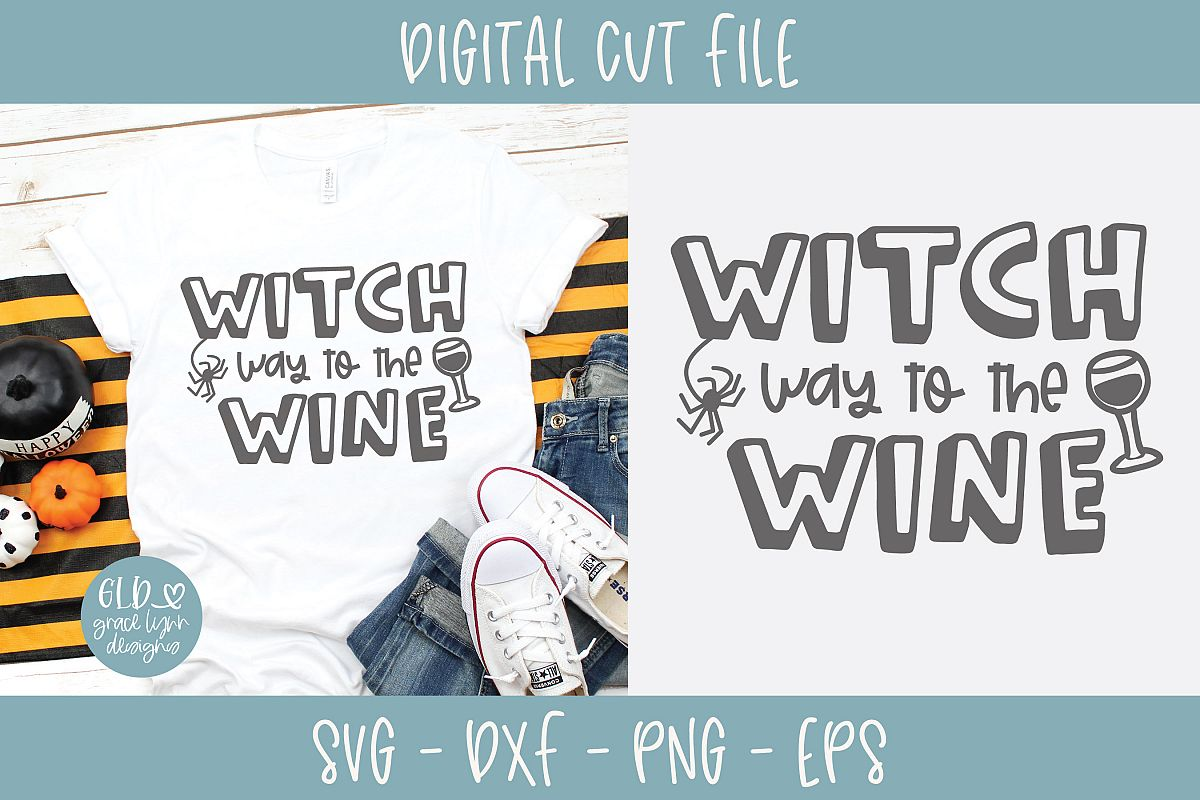 Witch Way To The Wine - Halloween SVG example image 1