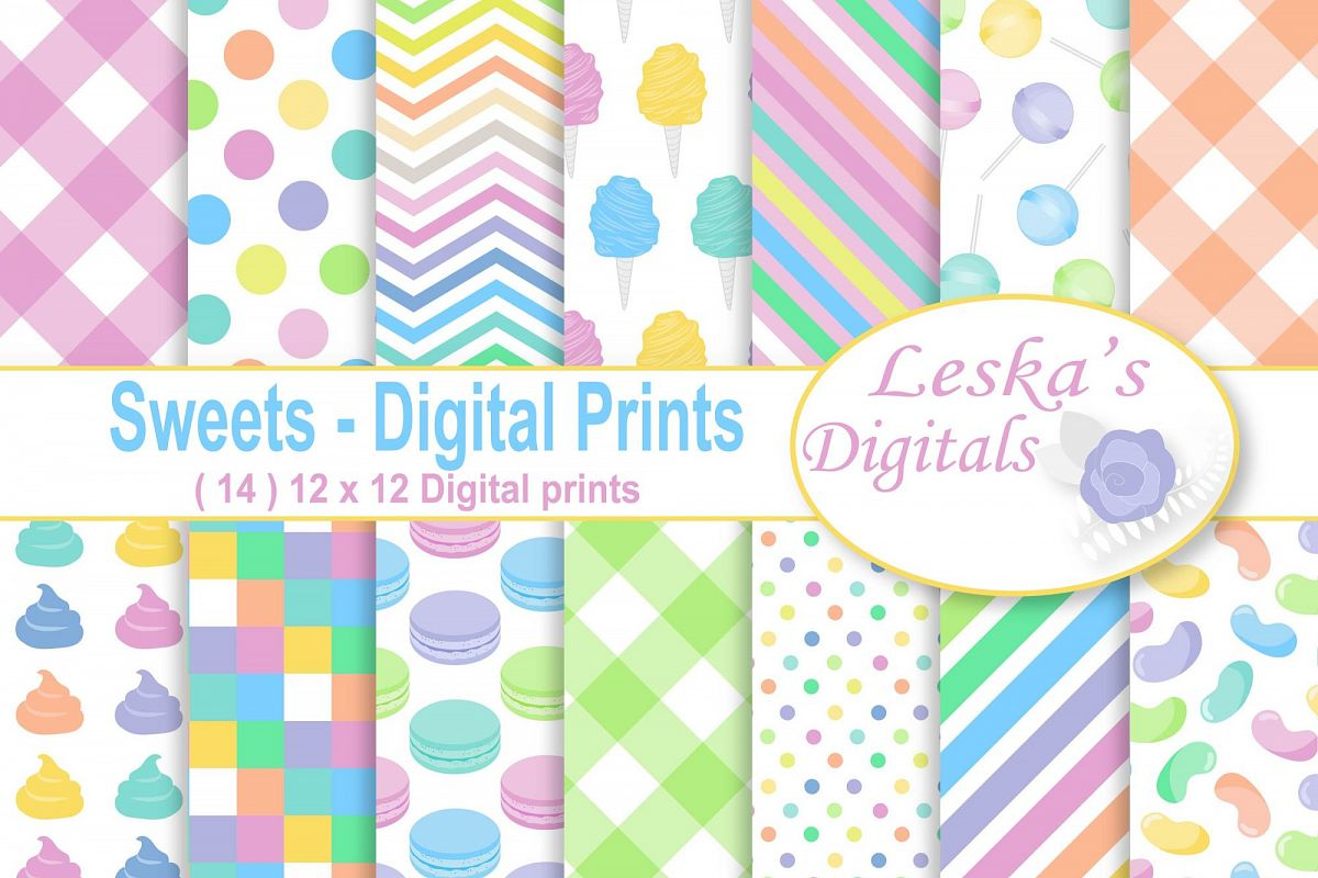 Candy Digital Paper Patterns example image 1
