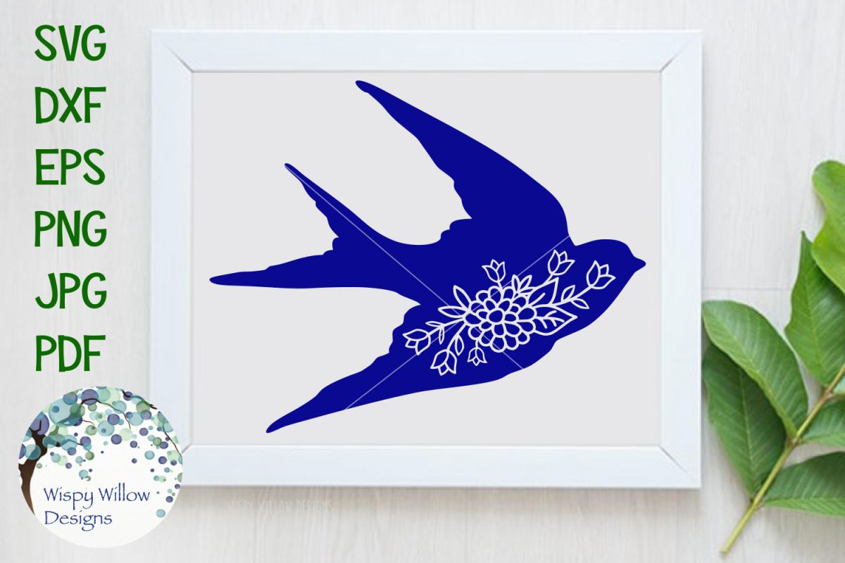 Floral Swallow Bird By Wispy Willow Des Design Bundles