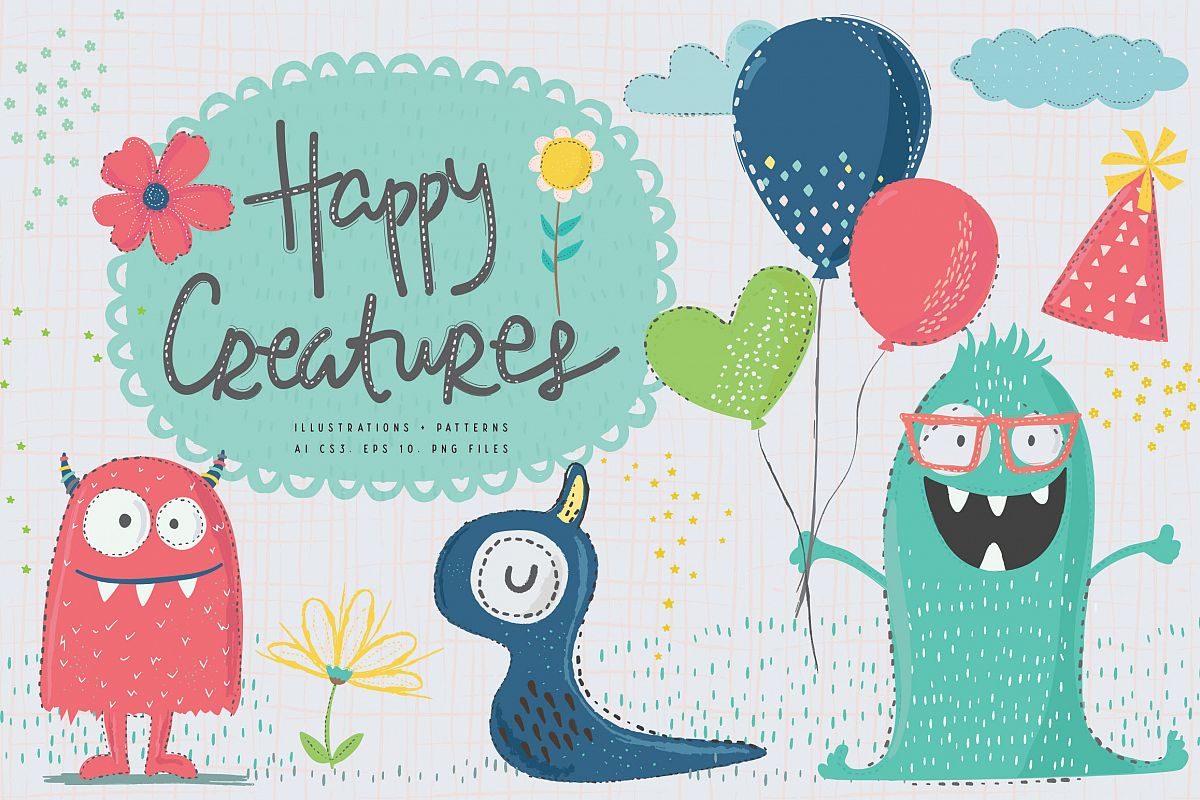 Happy Creatures Illustrations example image 1