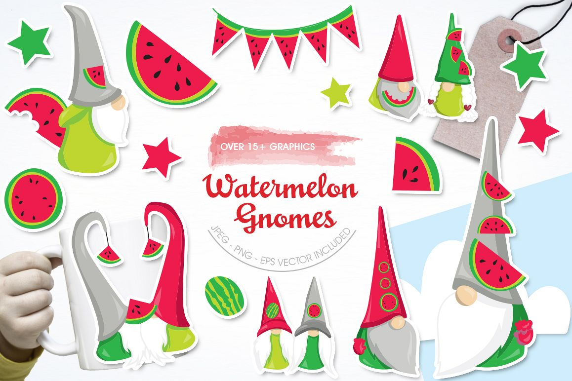Watermelon Gnomes graphic and illustration example image 1
