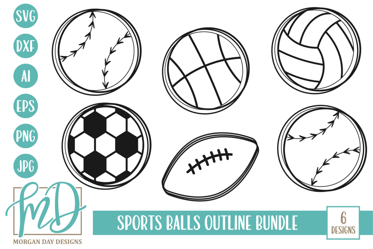 Sports Balls Outline Bundle SVG, DXF, AI, EPS, PNG, JPEG example image 1