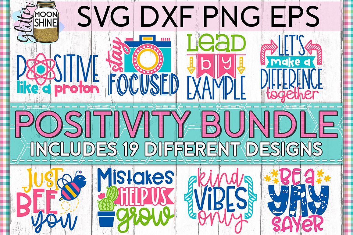 Positivity Bundle of 19 SVG DXF PNG EPS Cutting Files example image 1