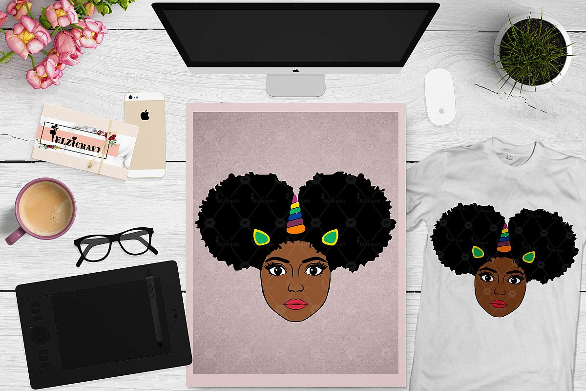 Afro Girl, Afro Puff, Afro Unicorn Face, Ears SVG Cut File example image 1