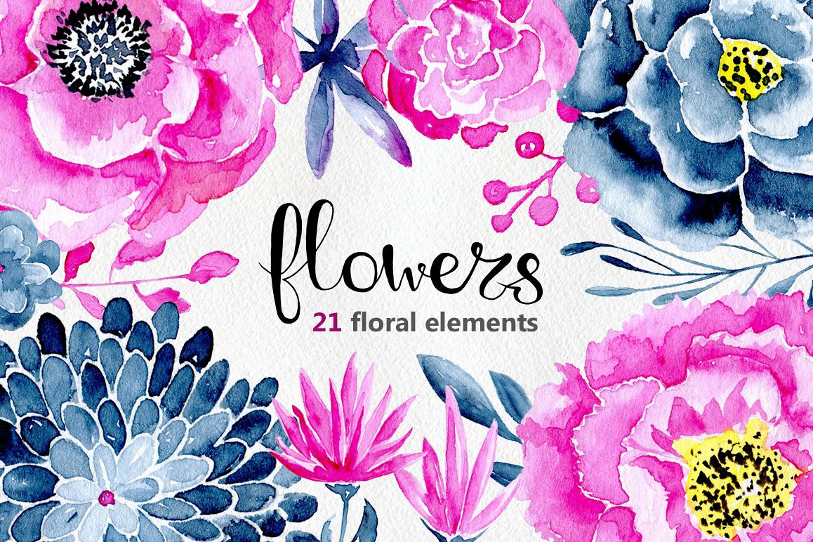 21 Watercolor Floral Elements Purple And Navy Blue