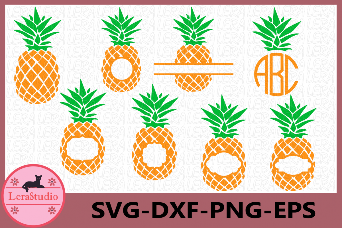 Pineapples SVG, Pineapple Monogram SVG, Pineapple Pattern example image 1