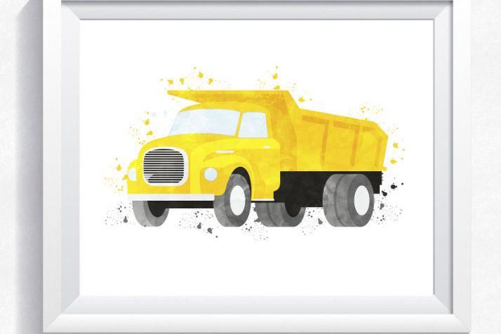 Watercolor dump truck printable, dump truck wall art, construction ...