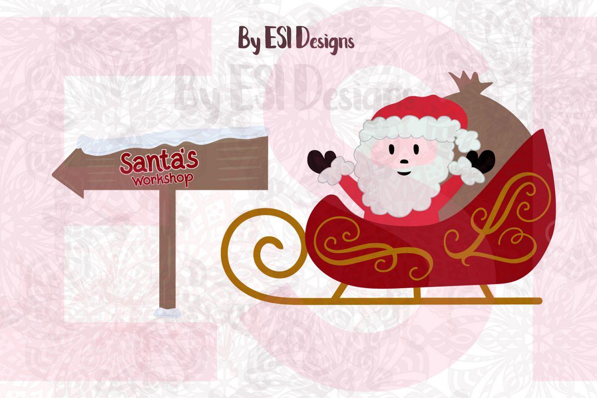 Santa Sleigh and Santa's Workshop Sign - SVG, DXF, EPS & PNG example image