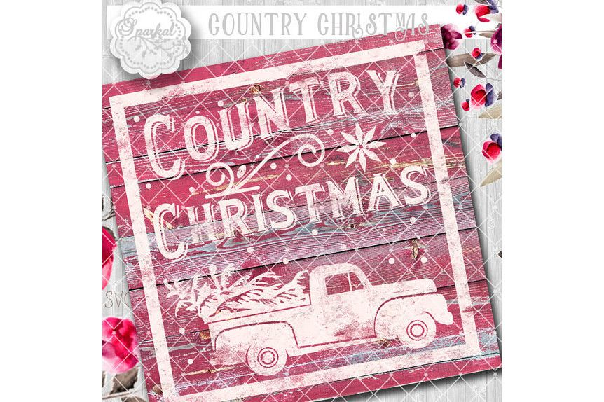 Vintage COUNTRY Christmas SVG File, Cutting File, Vector Clipart Holiday Decor, Silhouette Cutting file design Available in Svg,Dxf,Eps,Png example image 1