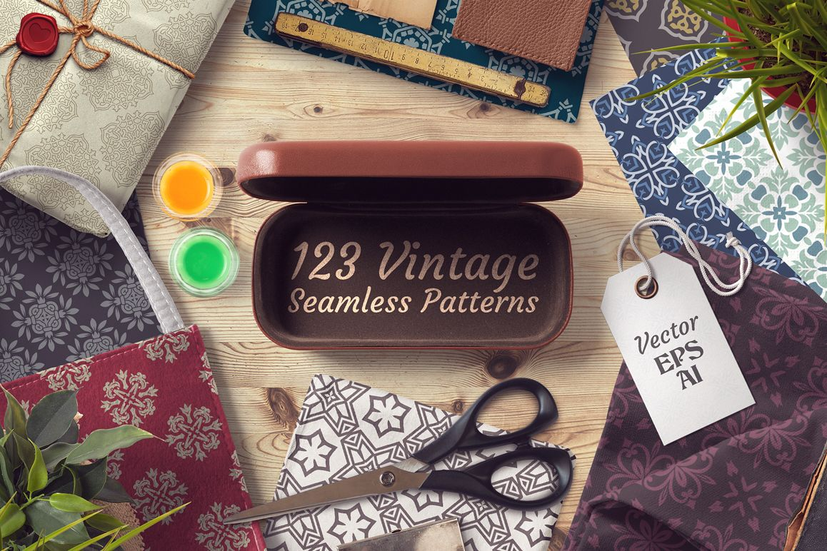 123 Vintage Seamless Vector Patterns example image 1