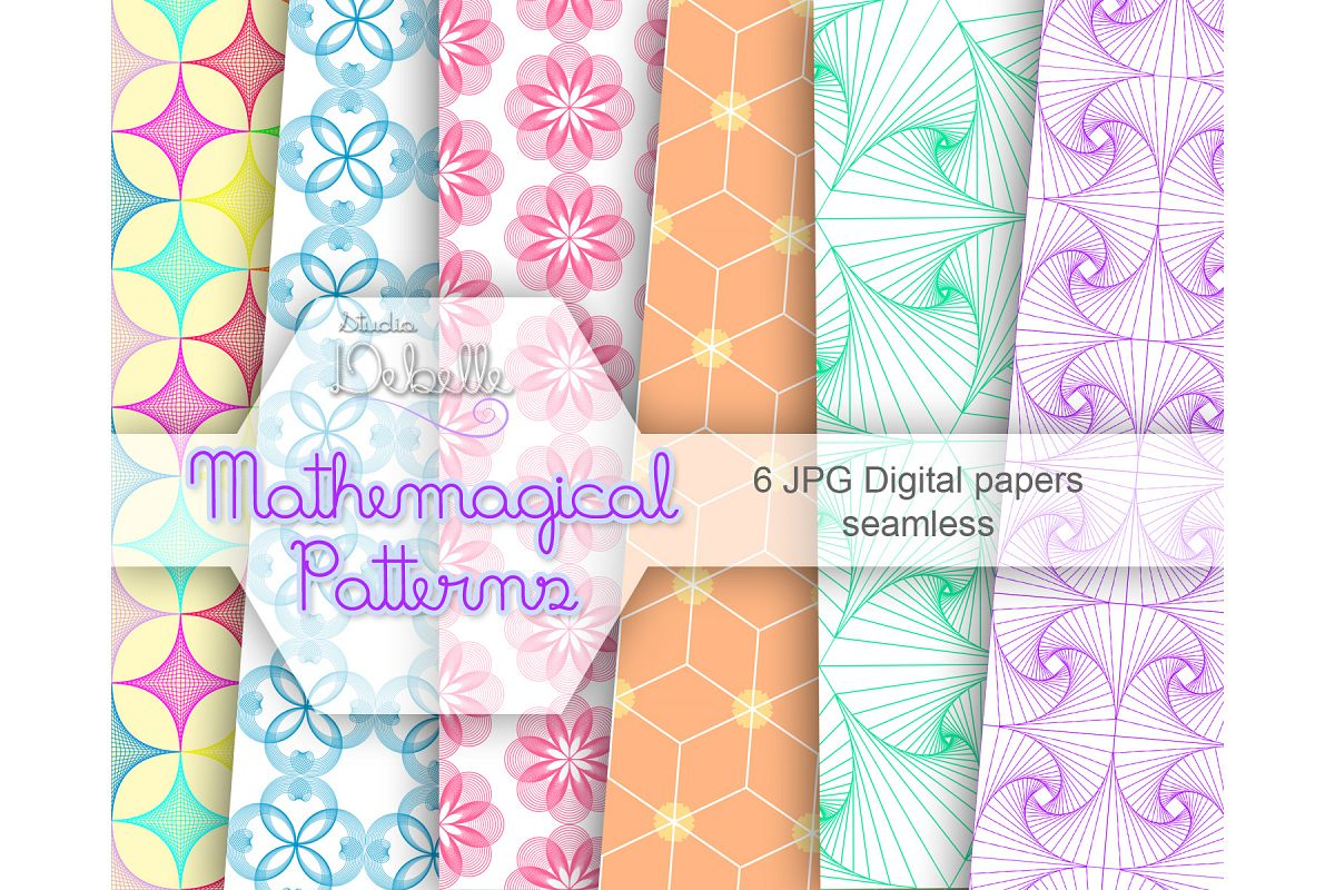 Mathemagical digital papers seamless pattern example image 1