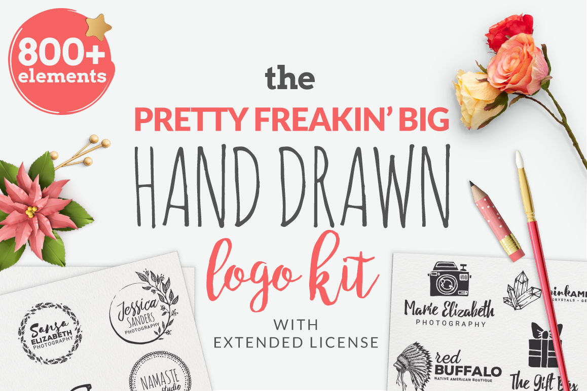 The Pretty Freakin' Big Hand Drawn Logo Design Kit example image