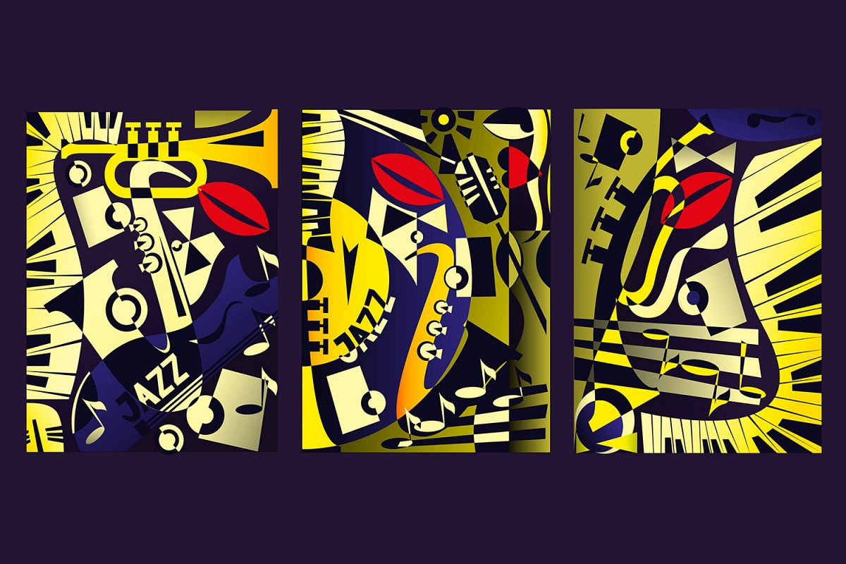 Triptych painting - jazz music in retro geometric abstraction style. Vector illustration example image 1