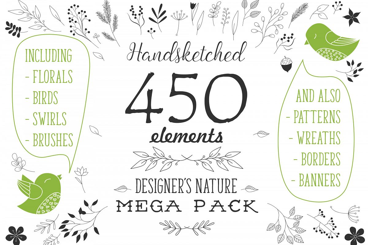 450 handsketched elements. Nature mega pack example image 1