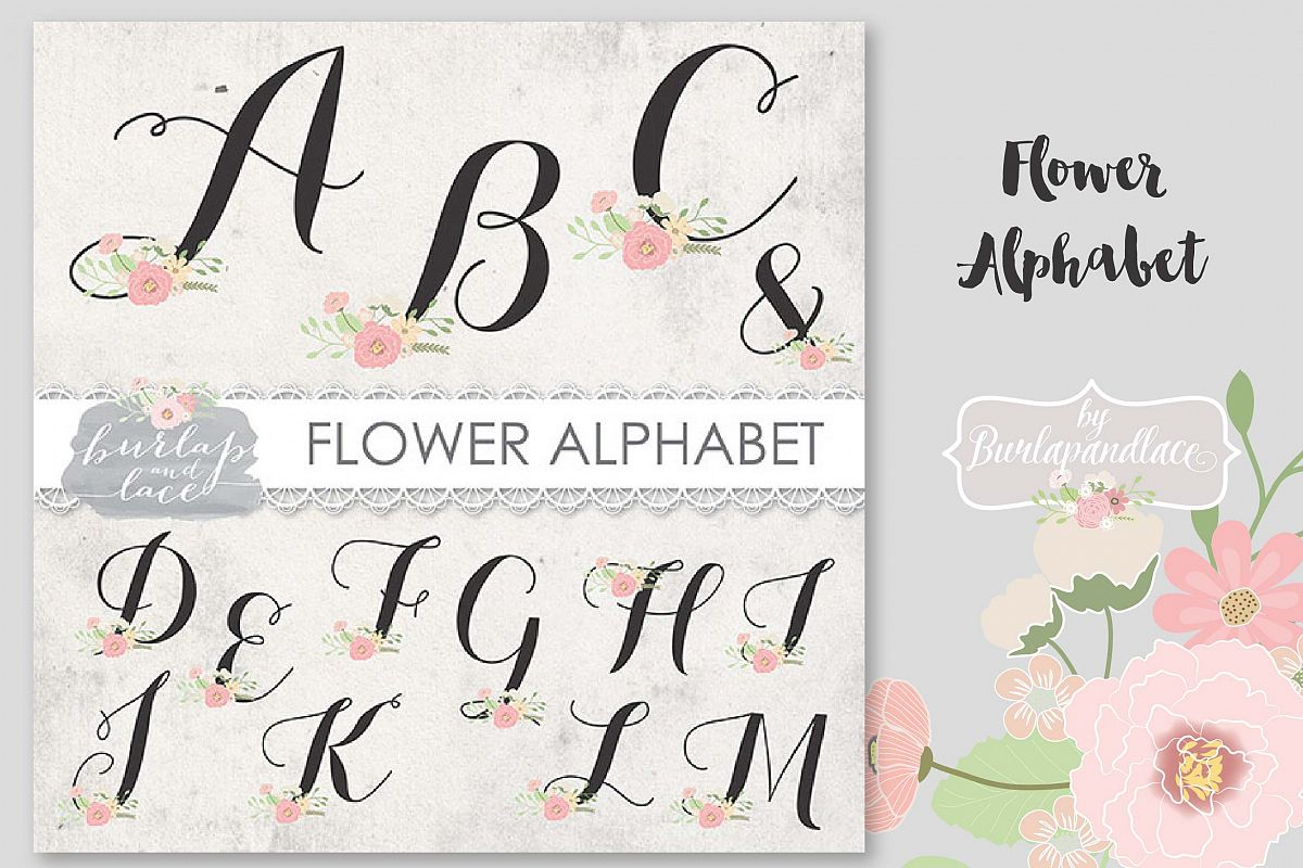 VECTOR Flower alphabet clipart example image 1