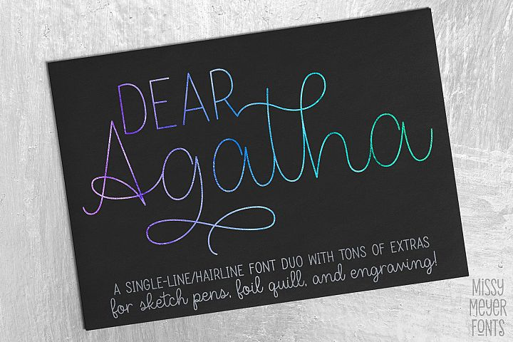 Dear Agatha - a single-line hairline pen & quill font duo!