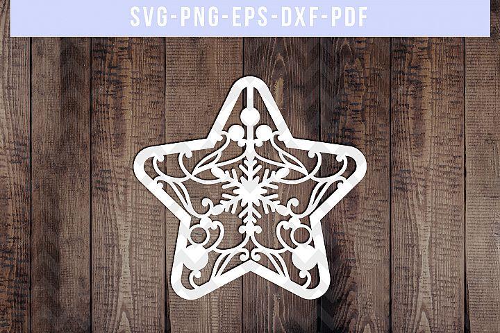 Christmas Star Papercut Template, Xmas Cardmaking, SVG, PDF