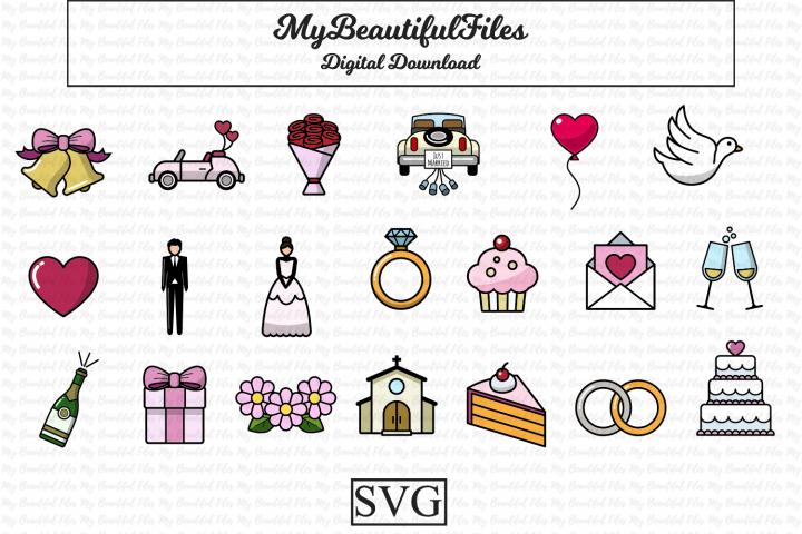 Wedding SVG Bundle - 20 Wedding Icons Illustrations Set