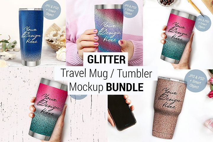 Glitter Tumbler Mockup BUNDLE, Glitter Travel mug mockup 987