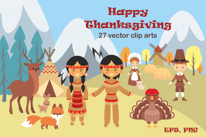 Happy Thanksgiving. Vector clip arts