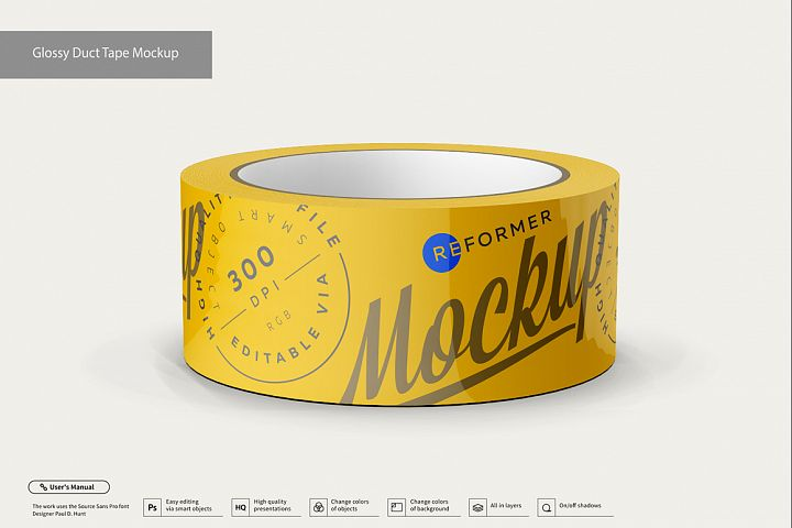 Glossy Duct Tape Mockup