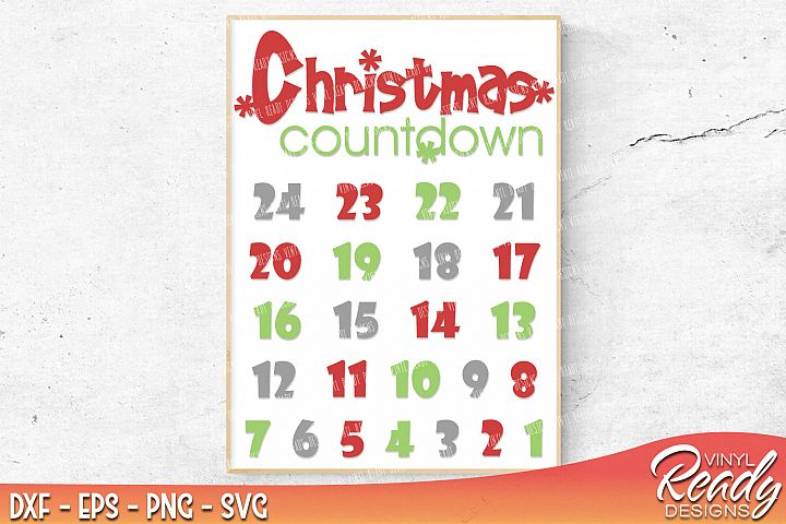 Christmas Countdown Calendar Template - Vector Clip Art - Cutting Files - DXF EPS PNG SVG