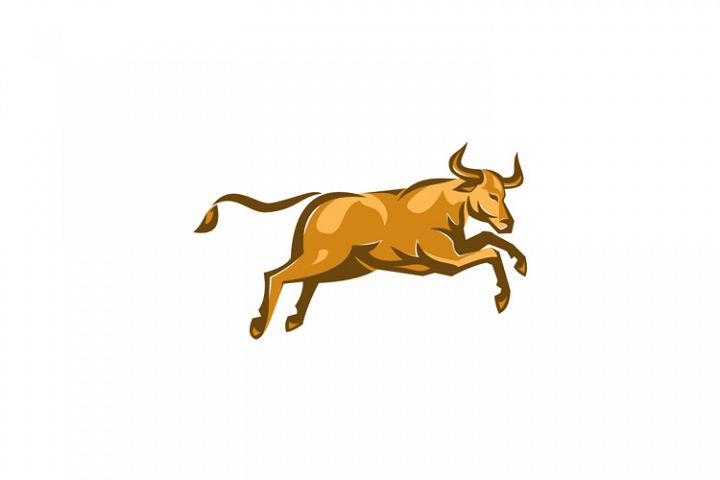 texas longhorn bull jumping side retro