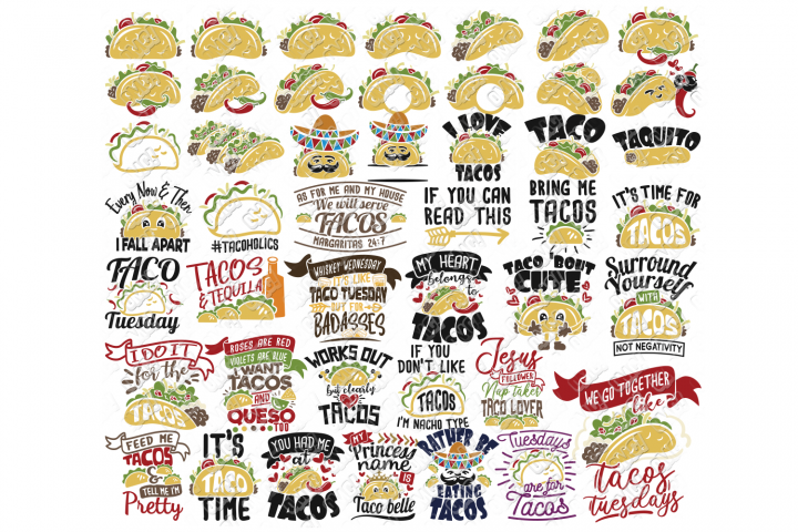 Taco SVG Bundle Phrases Monogram in SVG, DXF, PNG, EPS, JPEG