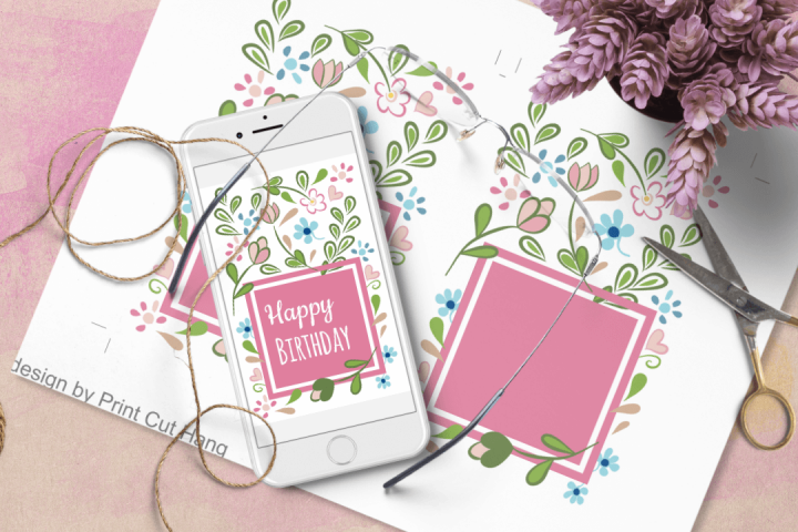 Floral Birthday Card Templates - Word Docx - Interactive PDF