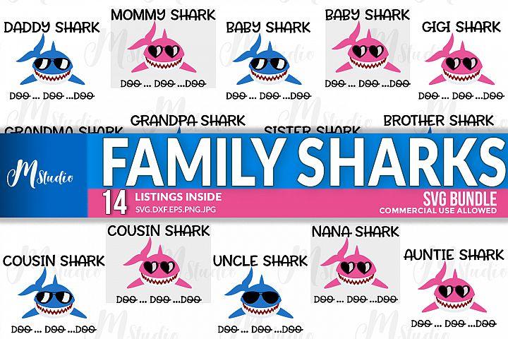 14 Family Sharks svg