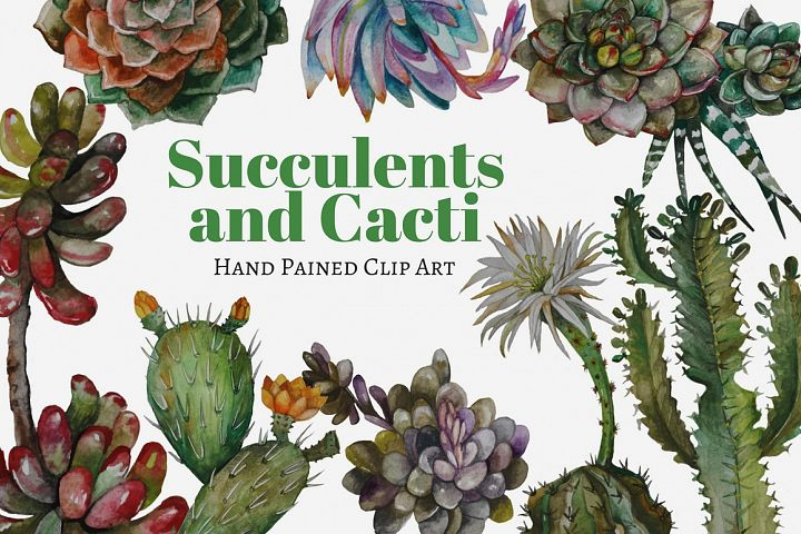 Succulents and Cacti Watercolor Clip Art Set