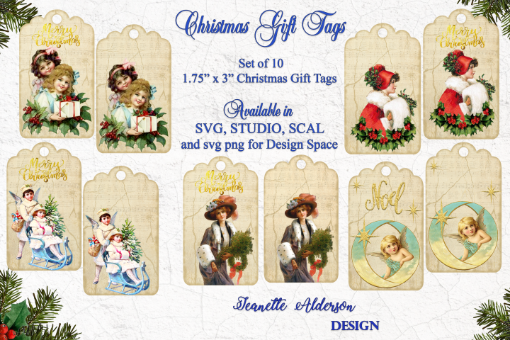 Vintage look Christmas Gift Tags - cutting file SVG PNG