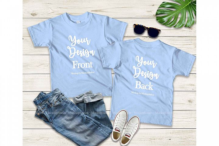 Kids Front & Back Baby Blue Tshirt Mockup, Teen Shirt Mockup