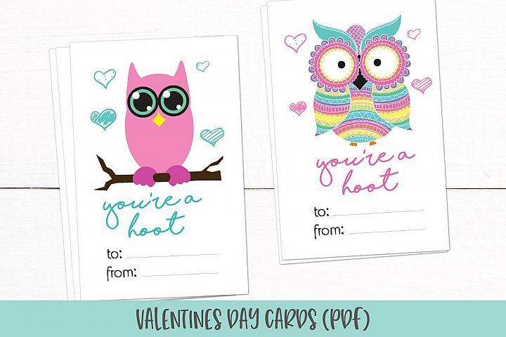 Owl Valentines Day Cards | Kids Valentines PDF