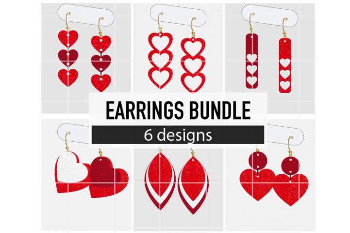 Valentine Day Earrings Bundle 1 / Leather / Faux / Cut Files