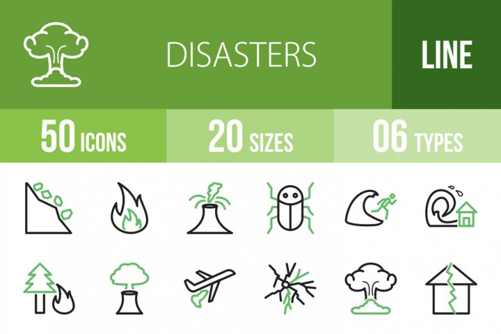 50 Disasters Line Green & Black Icons