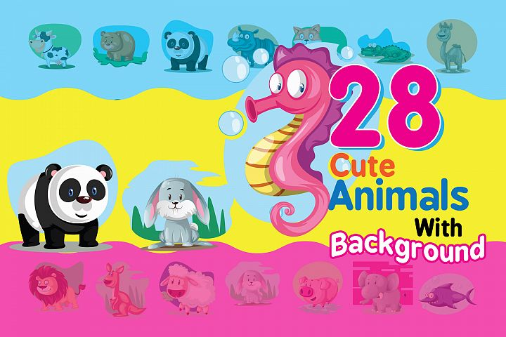 28x Cute Animals vector with background!