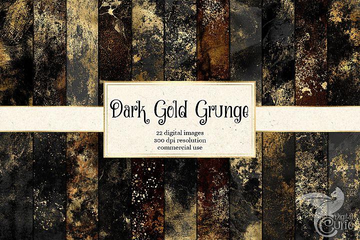 Dark Gold Grunge Textures Digital Paper