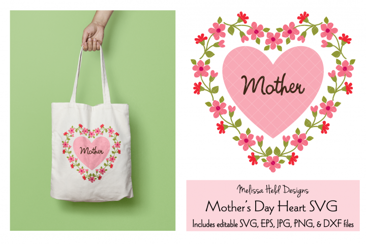 Mothers Day Graphic with Floral Heart Frame