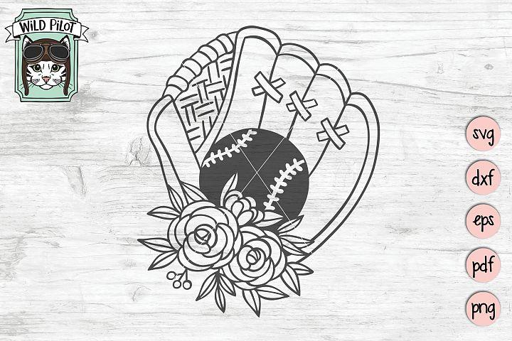 Baseball SVG file, Softball SVG file, Girls Sports, Flowers
