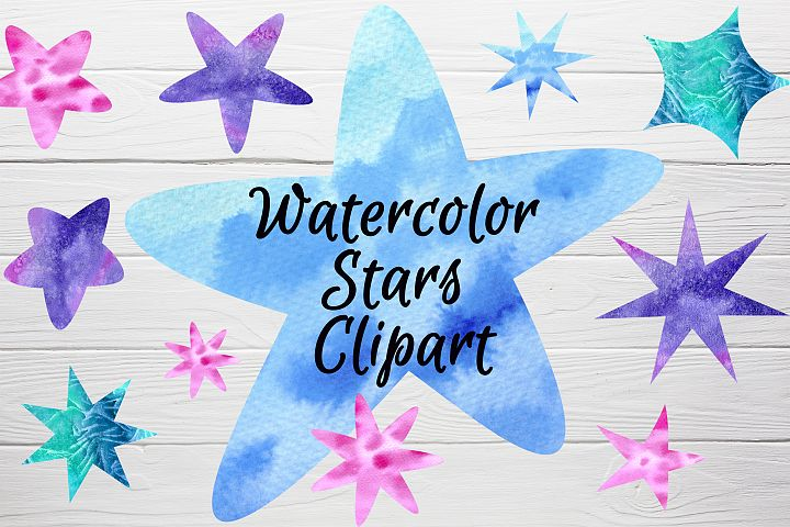Watercolor stars clipart - 18 PNG files - Galaxy clip art