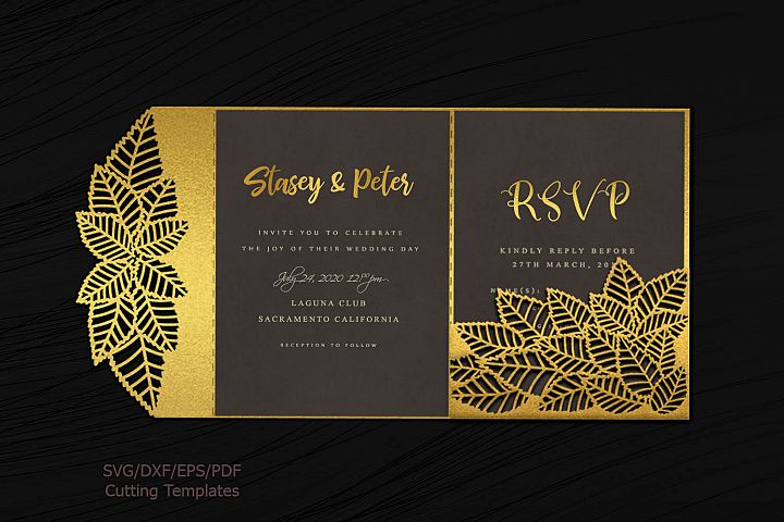 Leaves Tri Fold Trifold envelope wedding invitation svg dxf