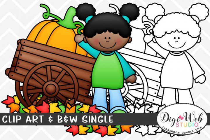 Clip Art & B&W Single - Girl w/ Leaves & A Pumpkin in A Cart