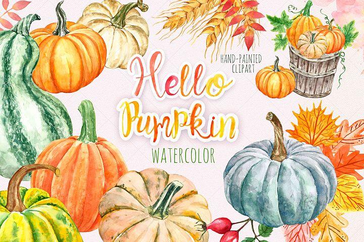 Watercolor Autumn Pumpkin Clipart Harvest Fall leaves
