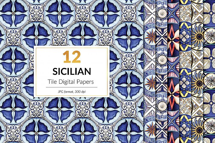 Italian Tile Patterns, Sicilian Tiles Digital Paper