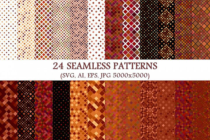 24 Seamless Brown Square Patterns