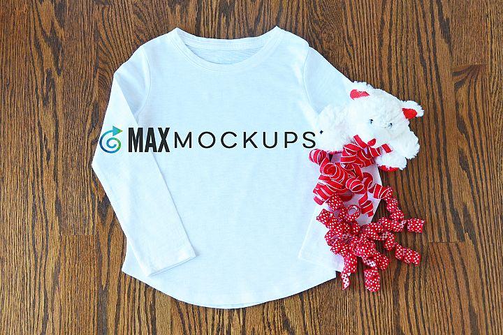White girl shirt Valentines mockup, raglan, red, teddy bear